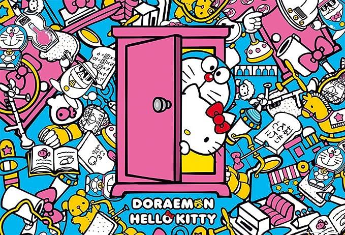 1000 piece jigsaw puzzle Doraemon × Hello Kitty secret tool (49x72cm)