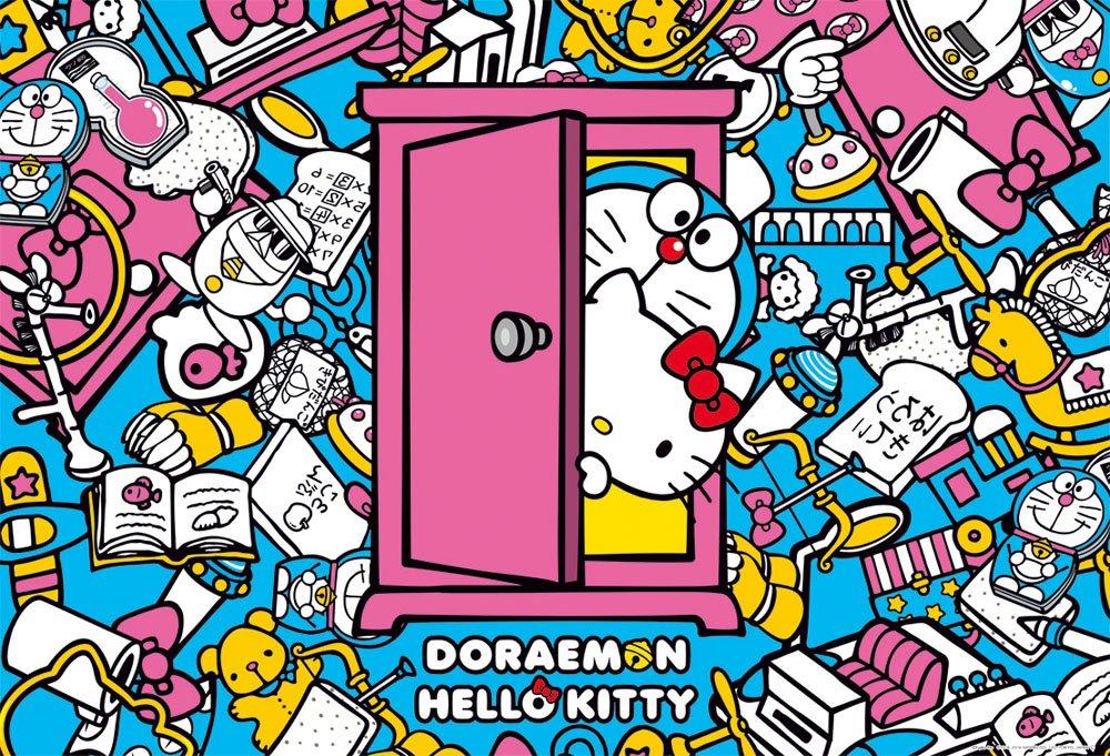 1000 piece jigsaw puzzle Doraemon times; Hello Kitty secret tool (49x72cm)