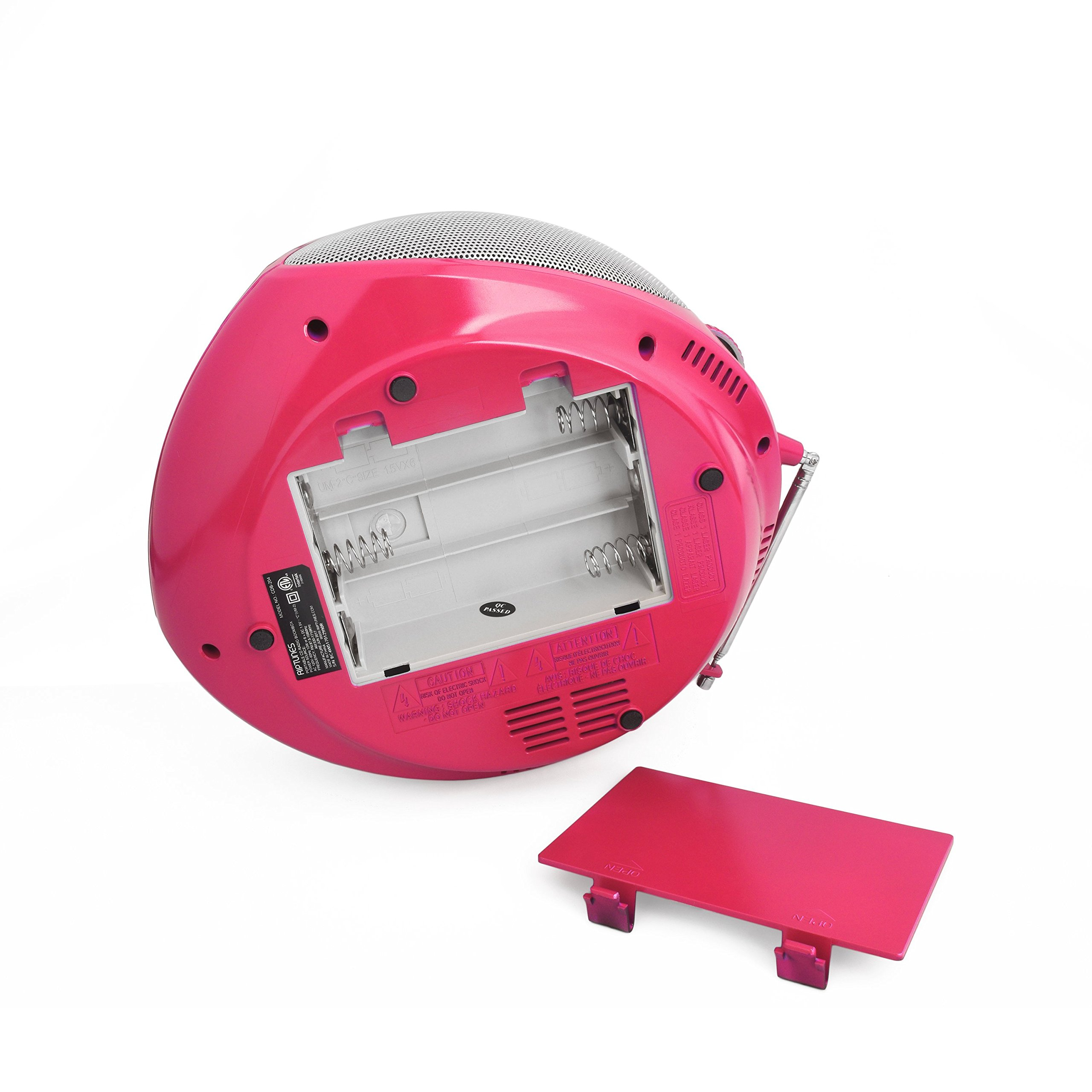Riptunes Portable CD Player with AM FM Radio Potable radios Boom Box with Aux Line-in, Pink by Riptunes (Image #6)