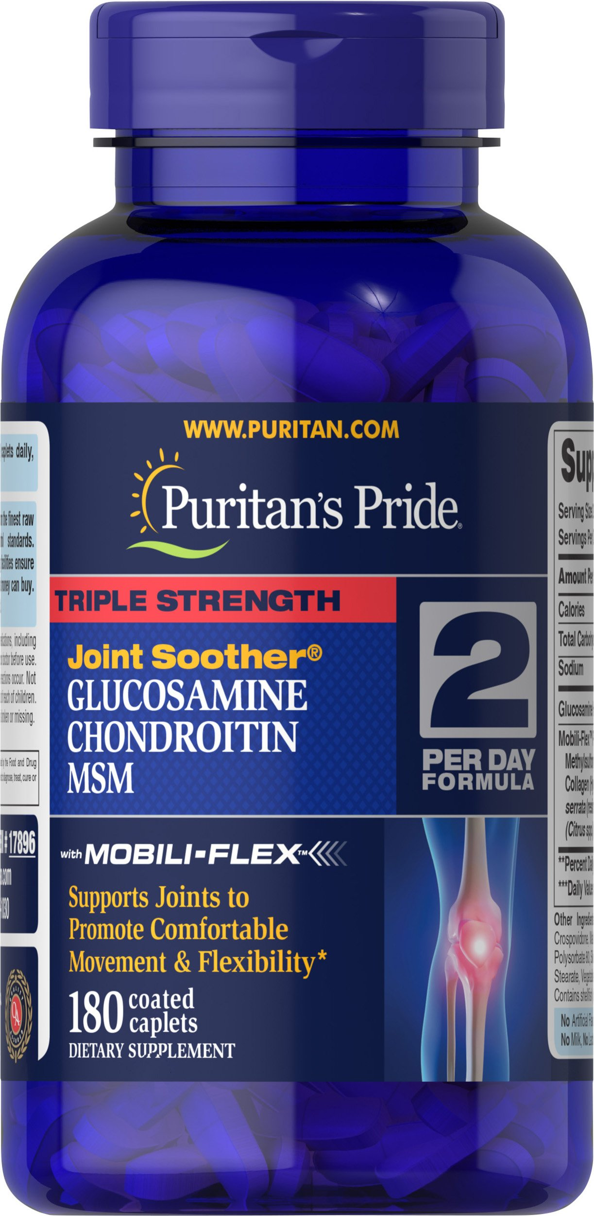 Puritan's Pride Triple Strength Glucosamine, Chondroitin and MSM Joint Soother�, Joint Support Supplement**, 180 Caplets