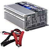 GoWISE Power 600W Pure Sine Wave Inverter 12V DC to 120V AC with 2 AC Outlets + 1 5V USB Port and 2 Clamp Cables (1200W…