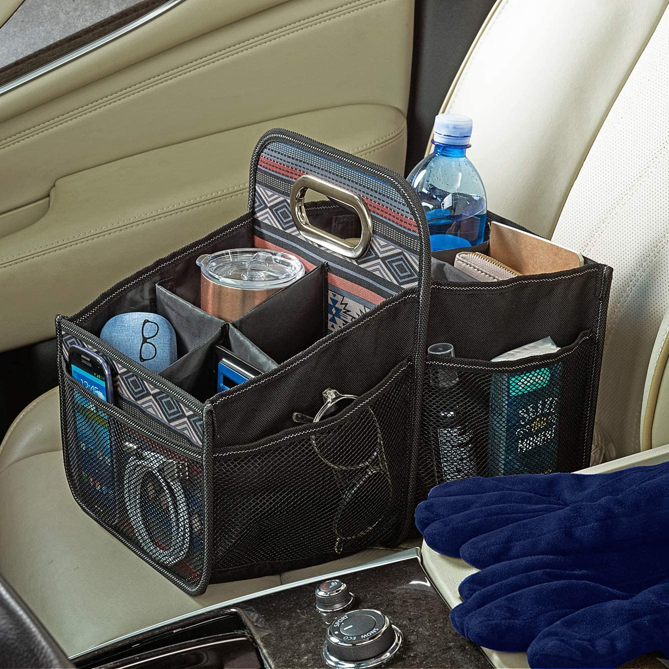 High Road Southwest Front and Back Seat Car Organizer Caddy with Movable Dividers
