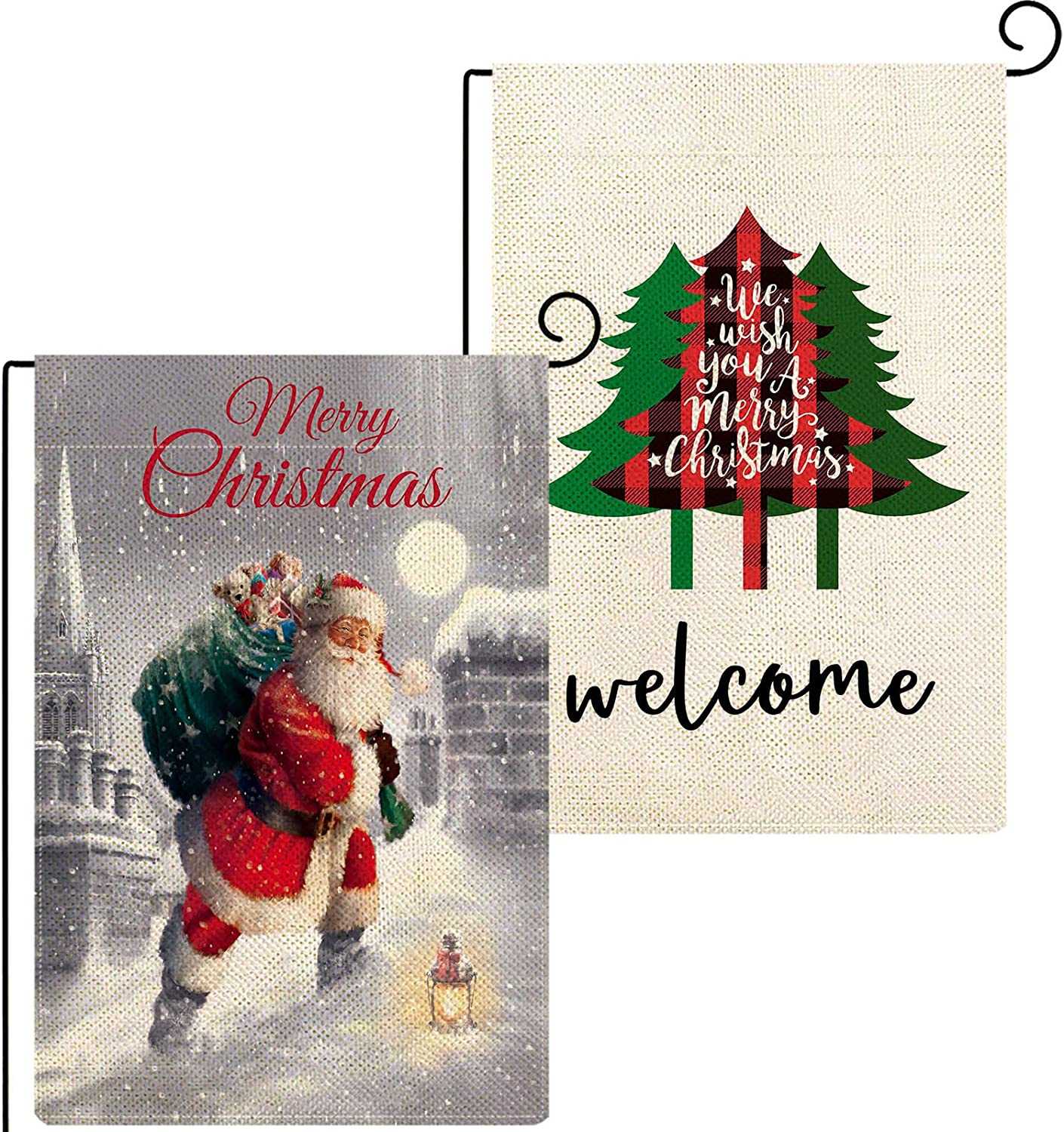 Baccessor Merry Christmas Garden Flag 12.5 x 18 Inch Bundle with Buffalo Plaid Christmas Tree Garden Flag Double Sized Winter Holiday Yard Outdoor Outside Decoration