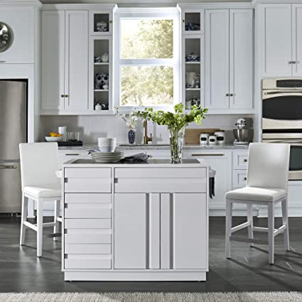 "Home Styles 8000-948 Linear Modern Kitchen Island and Stools W-49 ½"",  D-34"", H-36 ¼"" High Gloss White"