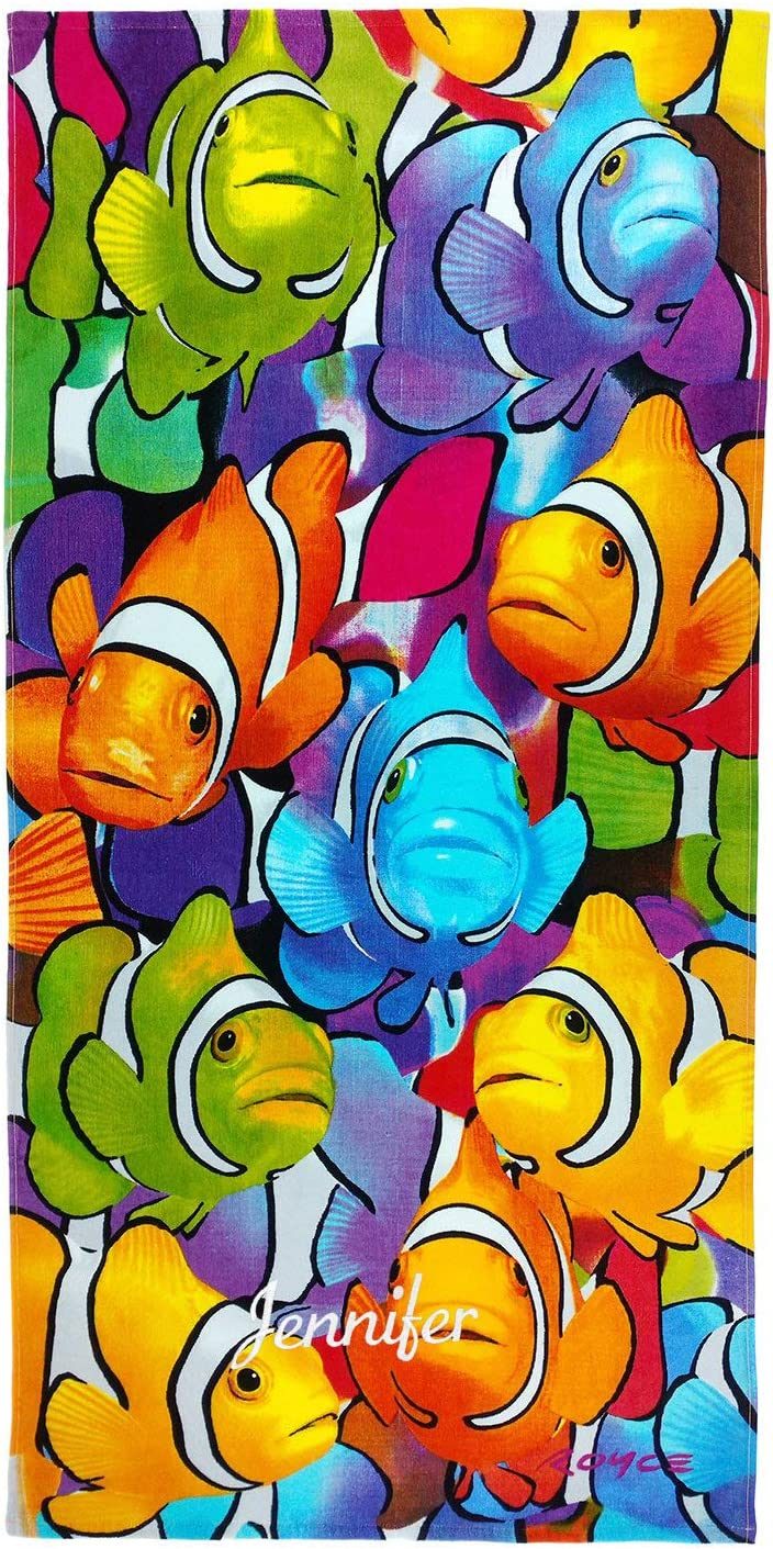 Kaufman -Personalized Kids Clownfish School Printed Beach and Pool Towel 30''X60'' Custom Embroidered Soft Absorbent