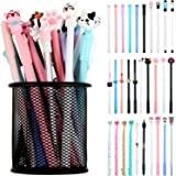 30 Pieces Cartoon Gel Ink Pens Cats Rollerball Pens Cute Writing Pens for Home Office School Kids Gift Favors