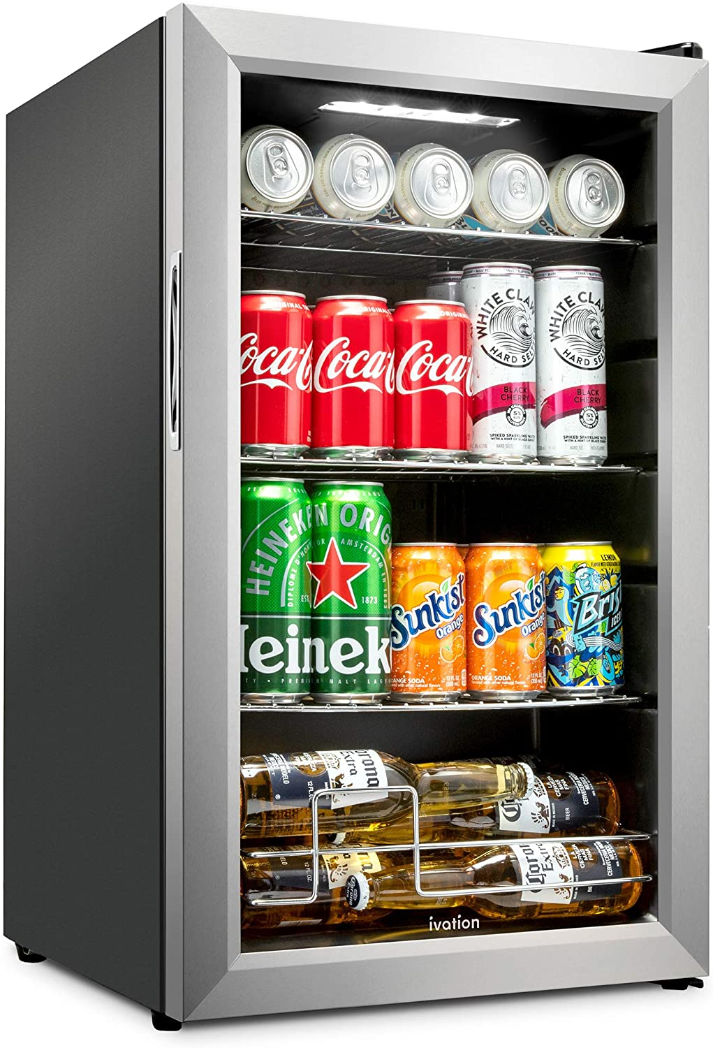 Ivation 101 Can Beverage Refrigerator | Freestanding Ultra Cool Mini Drink Fridge | Beer, Cocktails, Soda, Juice Cooler for Home & Office | Reversible Glass Door & Adjustable Shelving, Stainless Steel