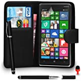 Nokia Lumia 830 Case - Premium Leather BLACK Wallet Flip Case Cover Pouch with 2 IN 1 Ball Pen Touch Stylus RED Dust Stopper Screen Protector & Polishing Cloth SVL6, (WALLET BLACK)