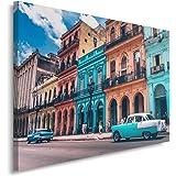 Topquadro Cuadro Imagen sobre Lienzo 70x50cm Coche Rojo Habana Cuba y Colores Una Pieza Decoraci/ón de Pared Camino y Edificios Viejos