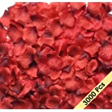 Acerich 3000 PCS Dark-Red Artificial Silk Rose Petals Fake Flower Petals for Wedding Flower Decoration, Wedding Bridal Decoration, Home Party Decor