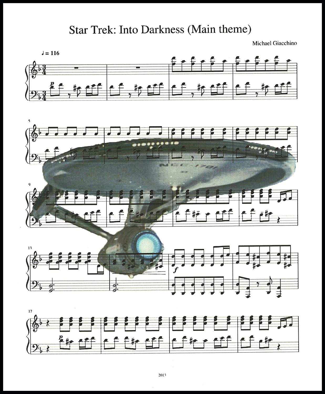 Ready Prints Into Darkness Music Sheet from Star Trek Theme Song Artwork Print Picture Poster Home Office Bedroom Nursery Kitchen Wall Decor - unframed