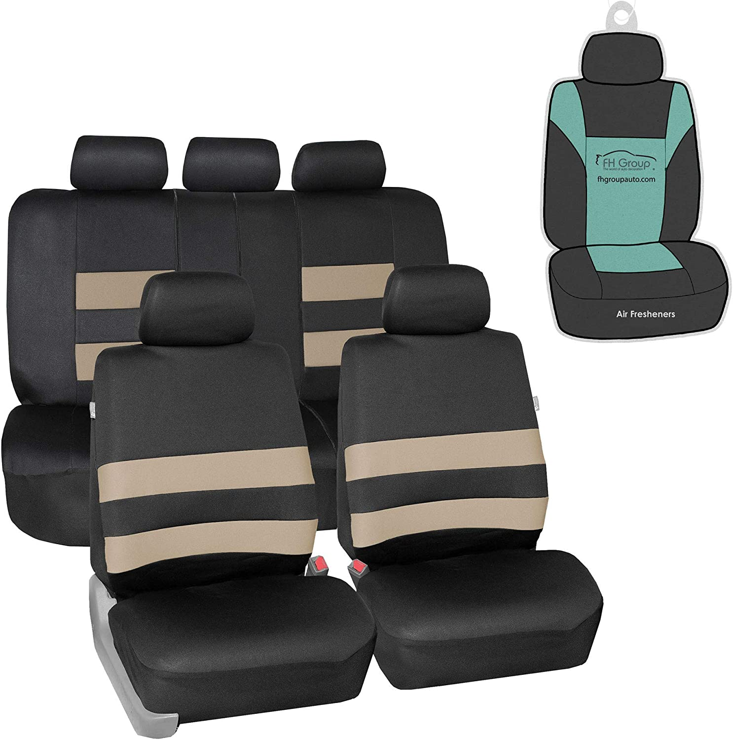 FH Group FB087115 Premium Neoprene Seat Covers (Beige) Full Set with Gift - Universal for Cars Trucks and SUVs