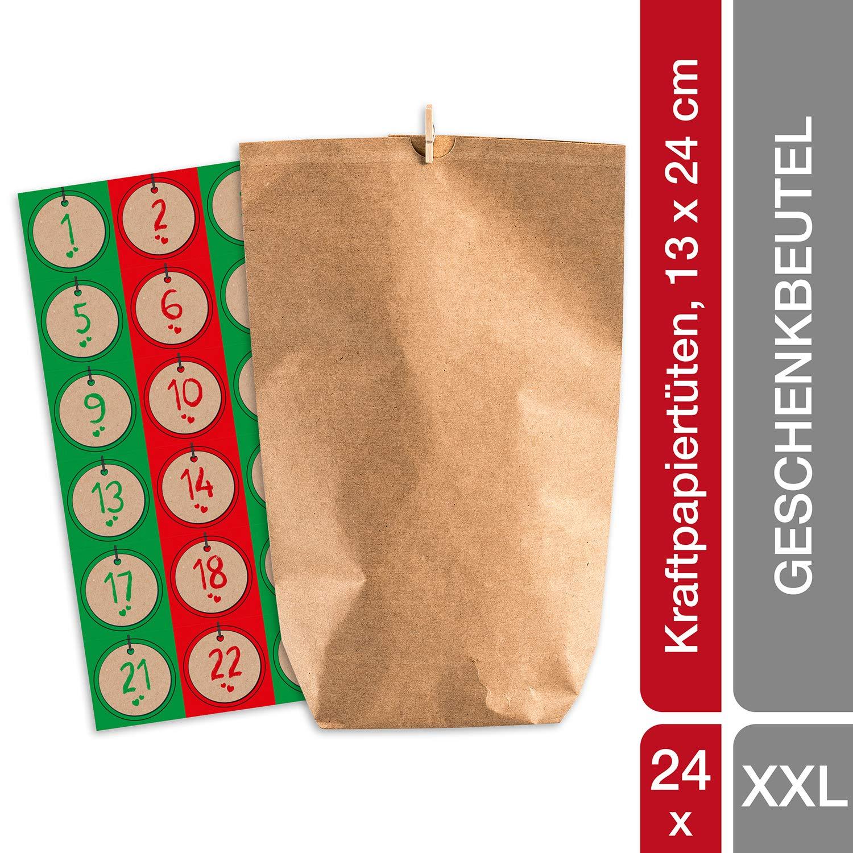 pajoma Adventskalender Nordic Vintage, 1 x 24 Kraftpapiertüten zum Befüllen, inkl. Zahlensticker und Klammern, Weihnachten 50213.0