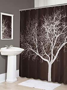 "Splash Home Tree Polyester Fabric Shower Curtain, 70"" x 72"", Chocolate"