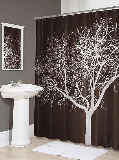 Amazon Splash Home Tree Polyester Fabric Shower Curtain 70 X