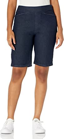 Chic Classic Collection Women's Relaxed Fit Flat Front Elastic Waist Bermuda Short