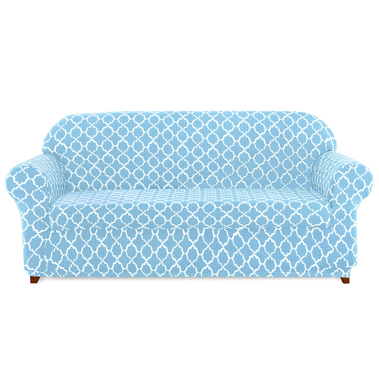 subrtex Loveseat Slipcovers Stretch Couch Protector 2-Piece Spandex Printing Furniture Cover Home Decor(Blue)