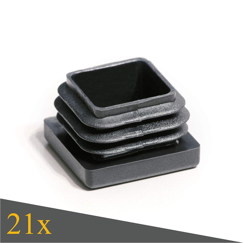 Gleiter 30x30 mm Enkotrade 21 St/ück Lamellenstopfen f/ür Vierkantrohre Stopfen Rohrabdeckung aus hochwertigem Polyethylen Kunststoff Rohrstopfen Quadratisch Kappen Endstopfen