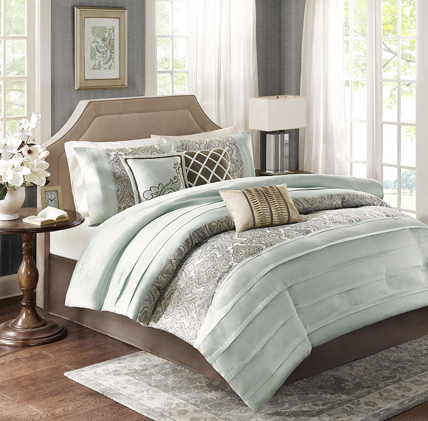Beau Amazon.com: Madison Park Bryant Queen Size Bed Comforter Set Bed In A Bag    Aqua, Jacquard Paisley Demask U2013 7 Pieces Bedding Sets U2013 Faux Silk Bedroom  ...