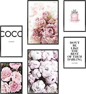 Heimlich Premium Set of Prints | UNFRAMED | Stylish Photo and Quote Prints Fashion Wall Decor | Glam Wall Decor for Living Room and Bedroom | 2 x 11x17 and 4 x 8.5x11 | » Coco «