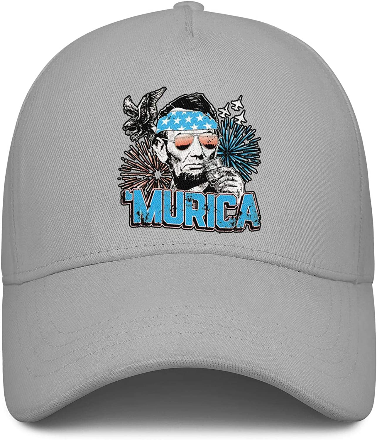 Murica Abe Lincoln Memorial Day Unisex Baseball Cap Highly Breathable Fishing Caps Adjustable Trucker Caps Dad-Hat