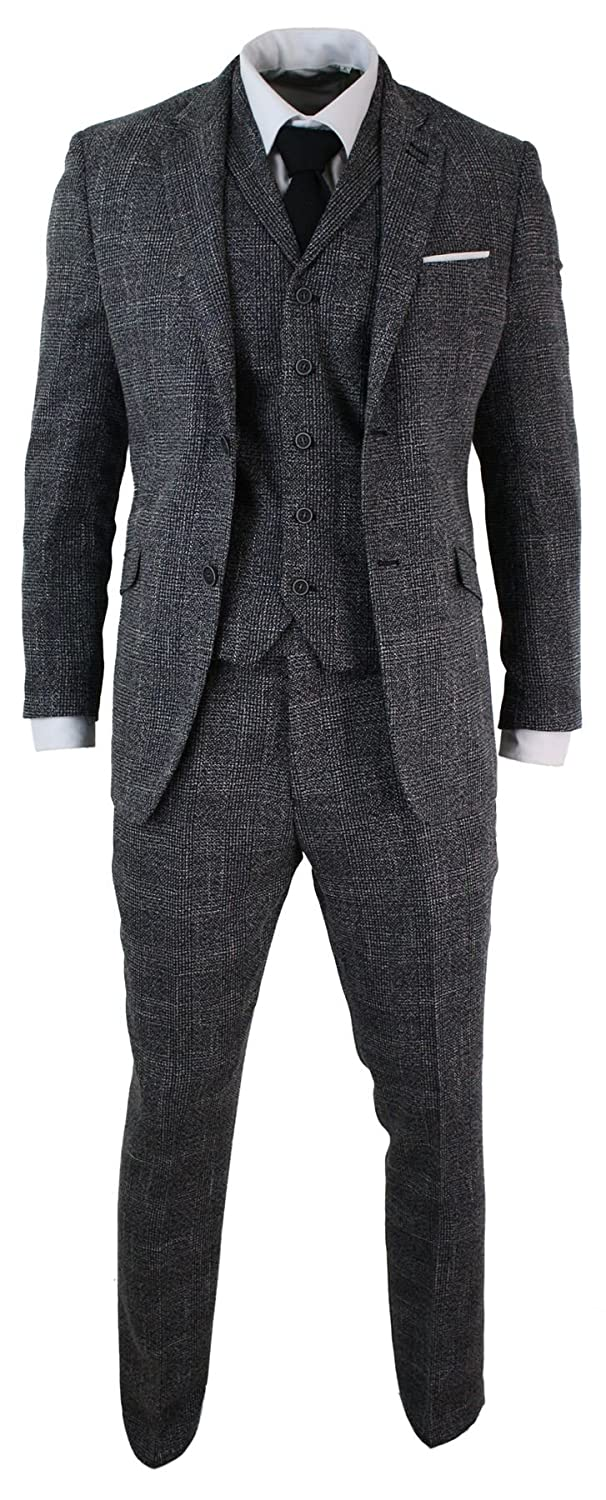 Cavani Mens Tailored Fit 3 Piece Grey Black Herringbone Tweed Vintage Retro Formal Suit 48UK/US & 58EU-Jacket 42-Pants