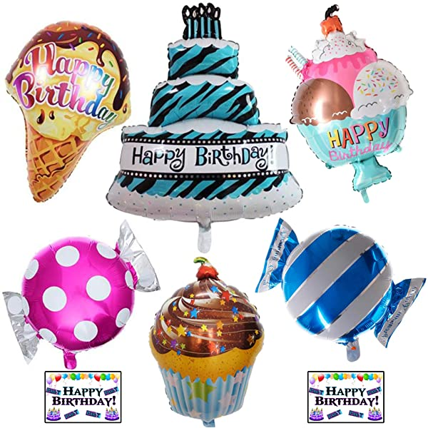 2X Happy Birthday Cake Cupcake Ice Cream Foil Balloon Birthday Party Decor r*t