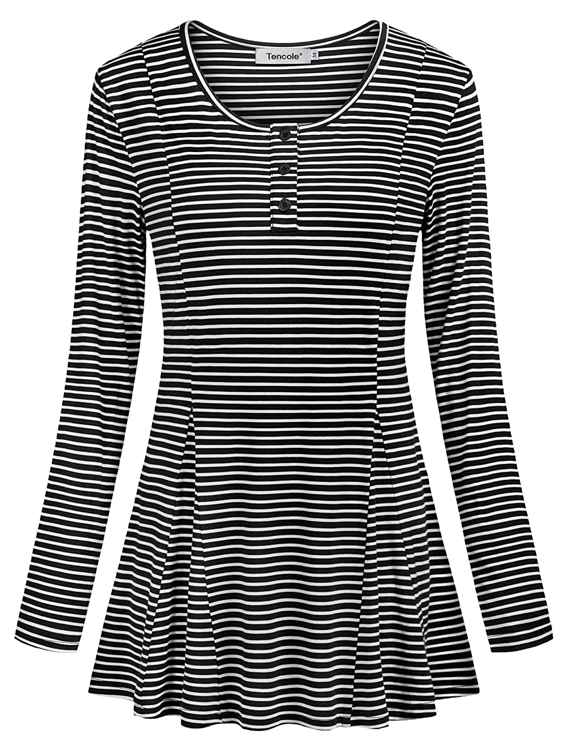Black Tencole Striped Tops for Women Long Sleeve Casual Round Neck Tunics with Buttons