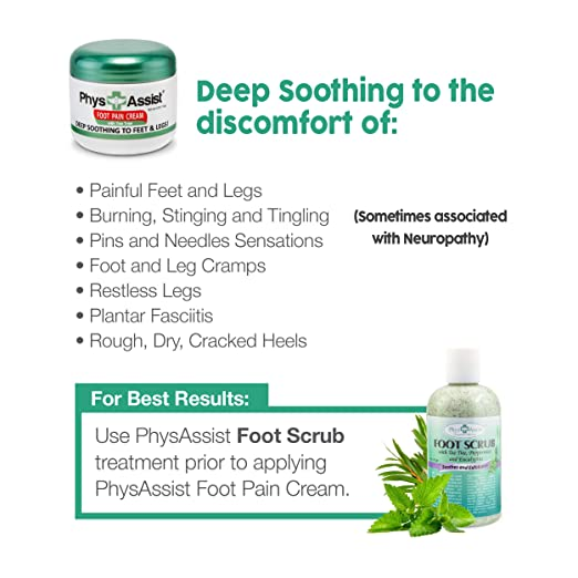 PhysAssist Foot Pain Cream 4 oz with Arnica, Peppermint & Tea Tree is Deep  Soothing & Calming to
