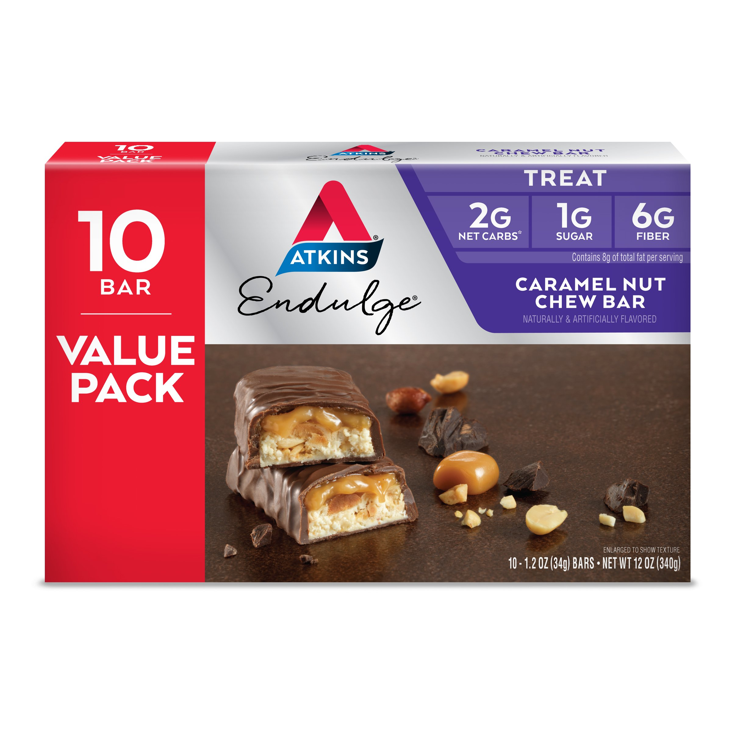 Atkins Endulge Treat, Caramel Nut Chew Bar, Keto Friendly, 10 Count (Value Pack) by Atkins