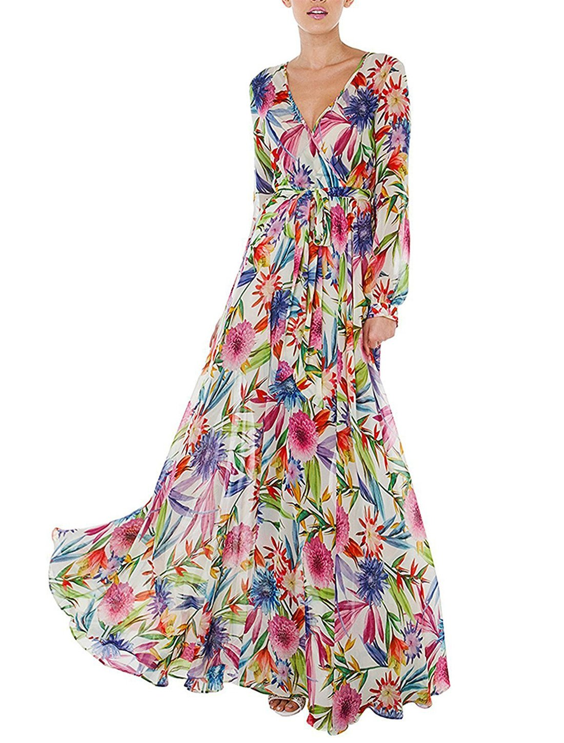 IRISIE Women Floral Print V Neck Wrap Tie Waist Flare Sleeve Pleated Maxi Dress
