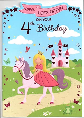 Birthday Card For Four 4 Year Old Girl Free 1st Class Post Uk