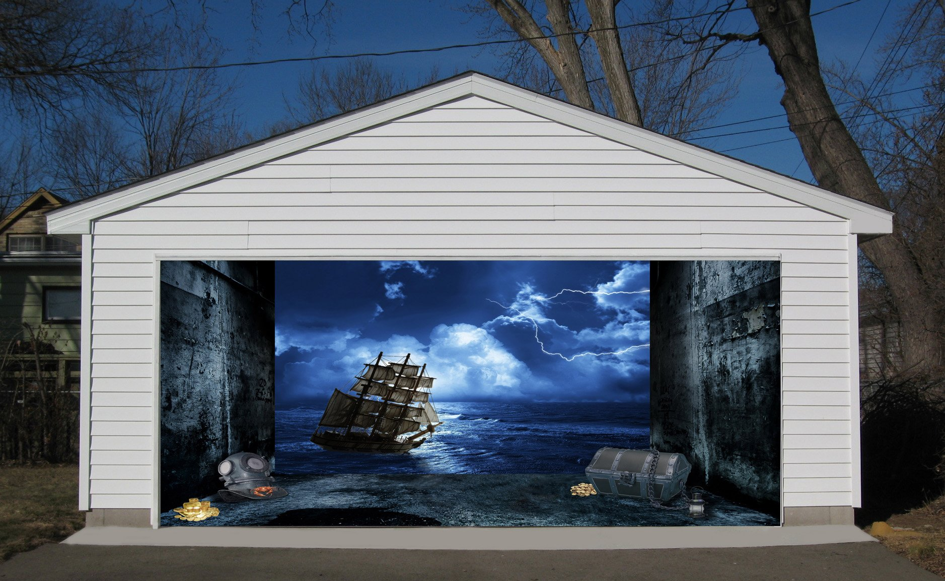 3D Effect Garage Door Billboard Sticker Cover Decor Old Ship in Storm 7x8 Feet
