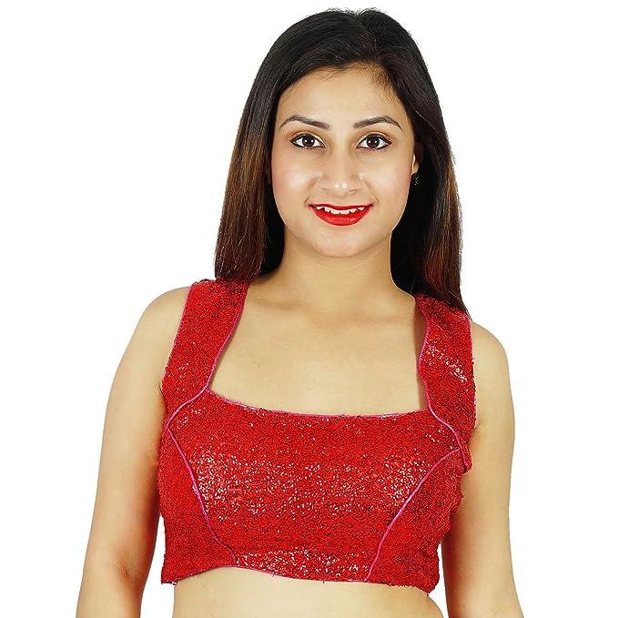 Densos Lentejuelas Bollywood Choli prefabricado desgaste de mujeres blusa roja de Cultivos-Top étnico: Amazon.es: Ropa y accesorios