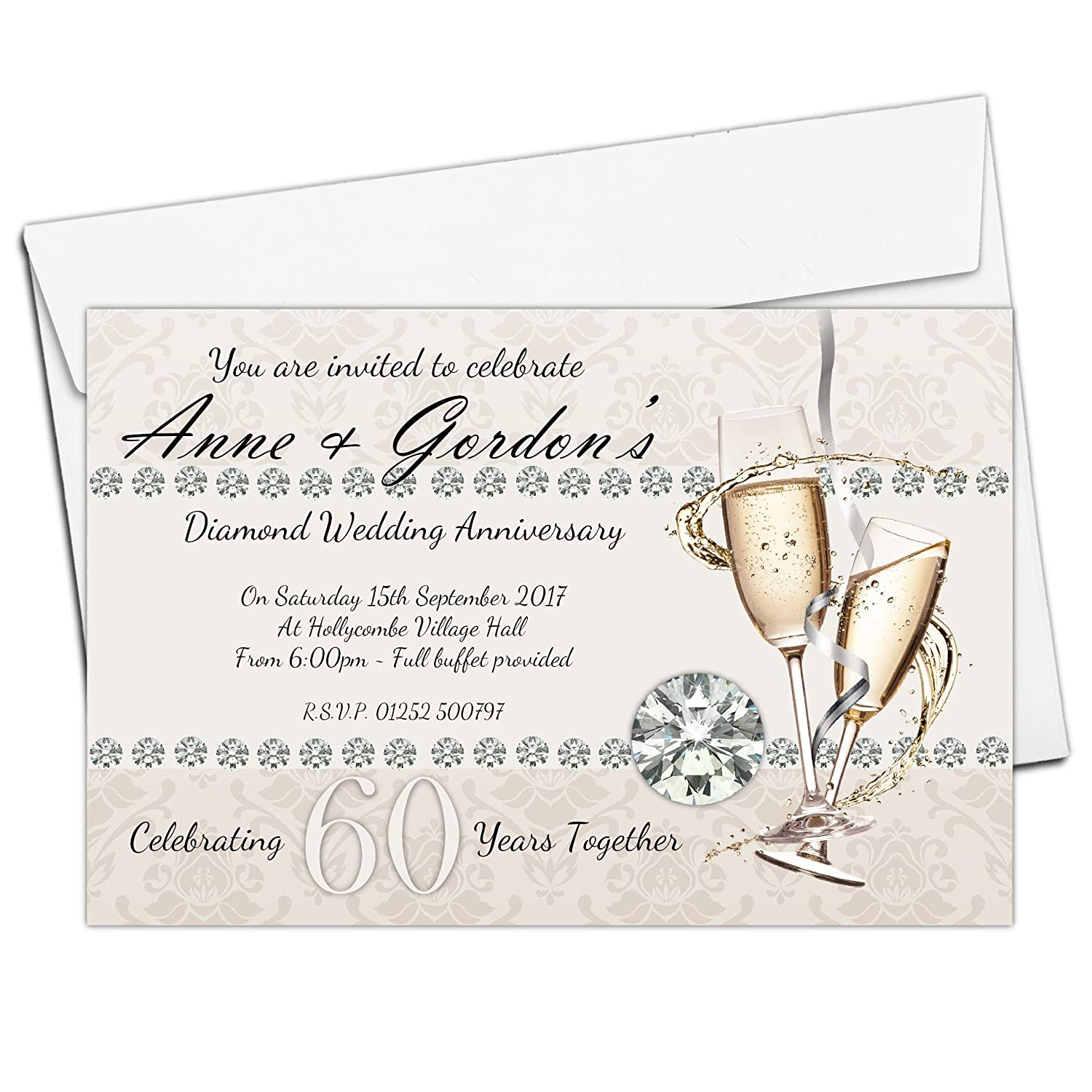 10 Personalised 60th Diamond Wedding Anniversary Invitations Invites N18 Invite Designs Ltd