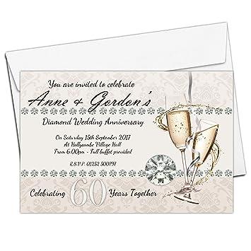 10 personalised 60th diamond wedding anniversary invitations invites