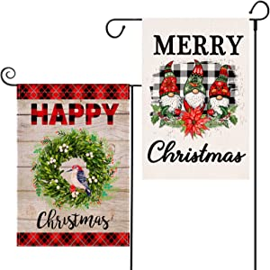 EKOREST 2 Pack Christmas Garden Flag Winter Gnomes Vertical Double Sided 12.5 x 18 Inch and Buffalo Plaid Coniferous Wreath Outdoor Decorations Marry Christmas Yard Sign Xmas Decor for Farmhouse Porch