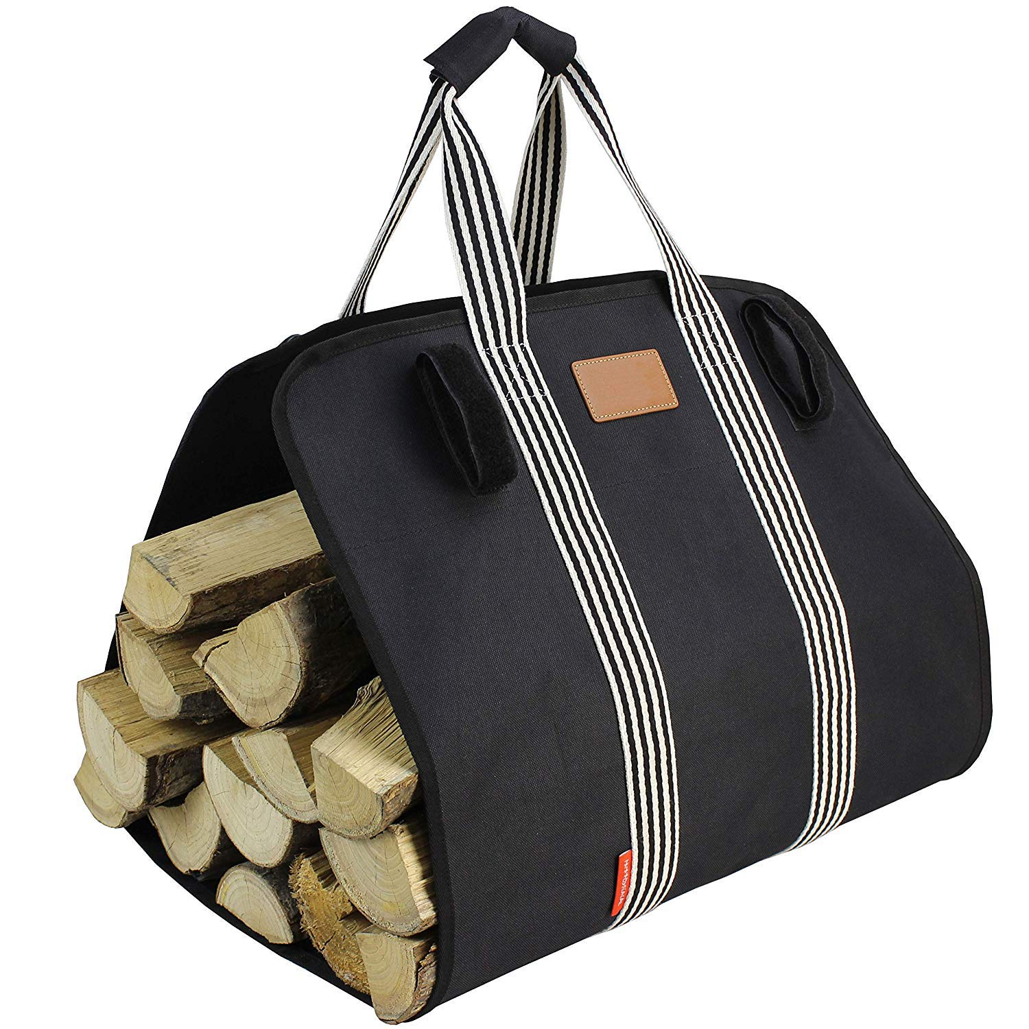 Heavy Firewood Log Carrier Tote, 16oz Canvas Foldable Wood Carrier Padded Handles, Large Capacity Firewood Carrier Bag with Hook and Loop by MyFirePlaceDirect