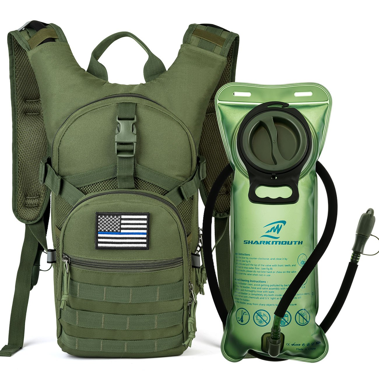 SHARKMOUTH Tactical MOLLE Hydration Pack Backpack 900D with 2L Leak-Proof Water Bladder, Keep Liquids Cool for Up to 4 Hours, Outdoor Daypack for Cycling, Hiking, Running, USA Flag Patch,Green by SHARKMOUTH