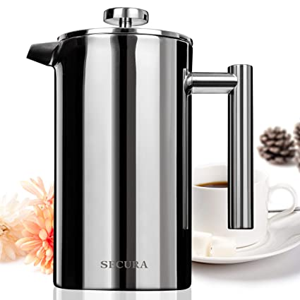 Secura Stainless Steel French Press Coffee Maker 18/10 Bonus Stainless Steel Screen (1000ML) Coffee, Tea & Espresso at amazon