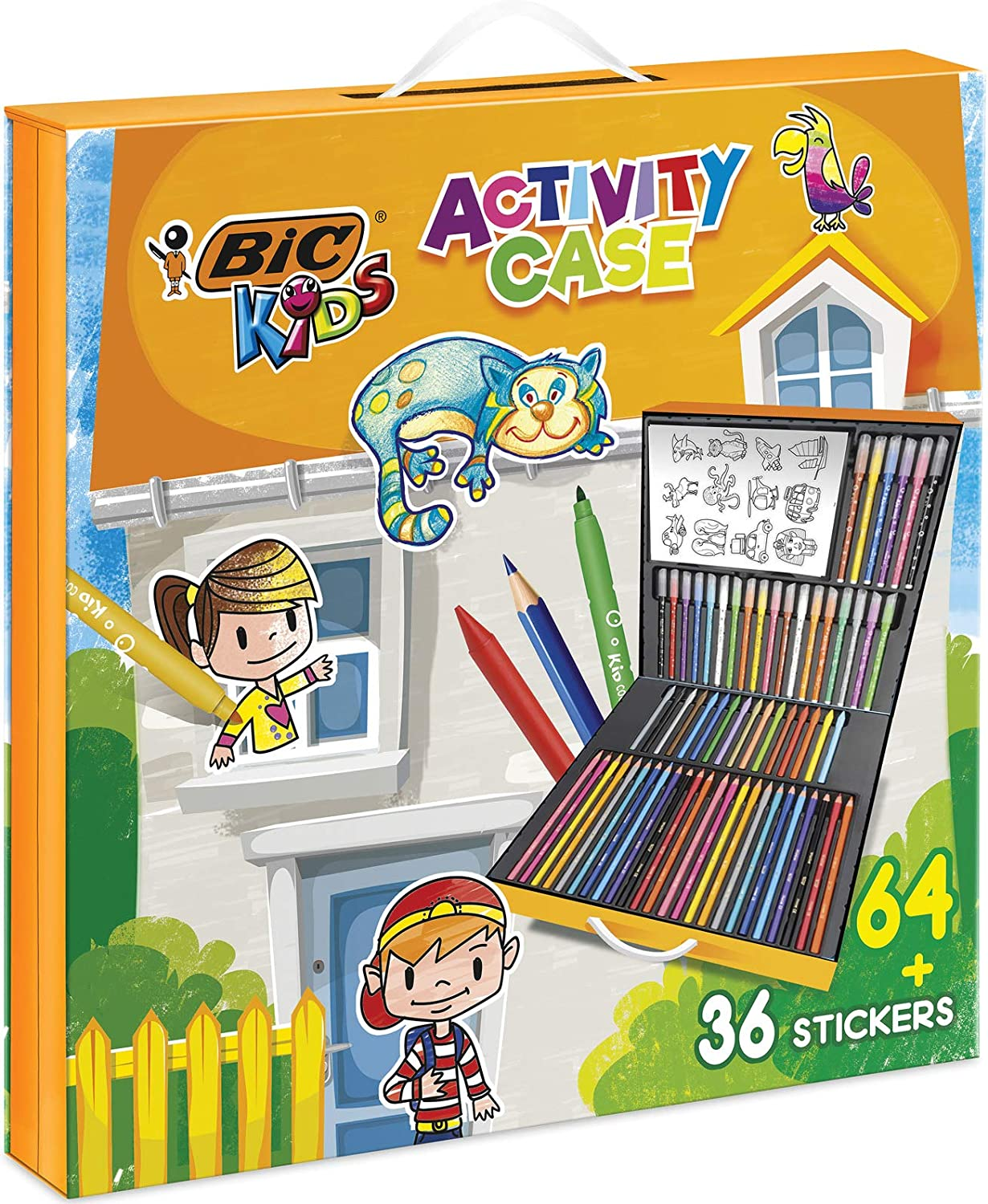 Bic Kids 961558 Activity Case - 24 Lápices de Colores /24 Rotuladores /16 Ceras y 36 Adhesivos para Colorear