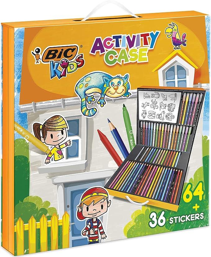 BIC Kids Activity Case - 24 Lápices de colores /24 rotuladores /16 Ceras y 36 Adhesivos para Colorear: Amazon.es: Oficina y papelería
