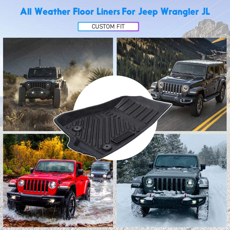JeCar Floor Mats for Jeep Wrangler JL 2018 2019 2020 Black Heavy Duty Floor Liners TPE All Weather Liners for 4 Door JLU