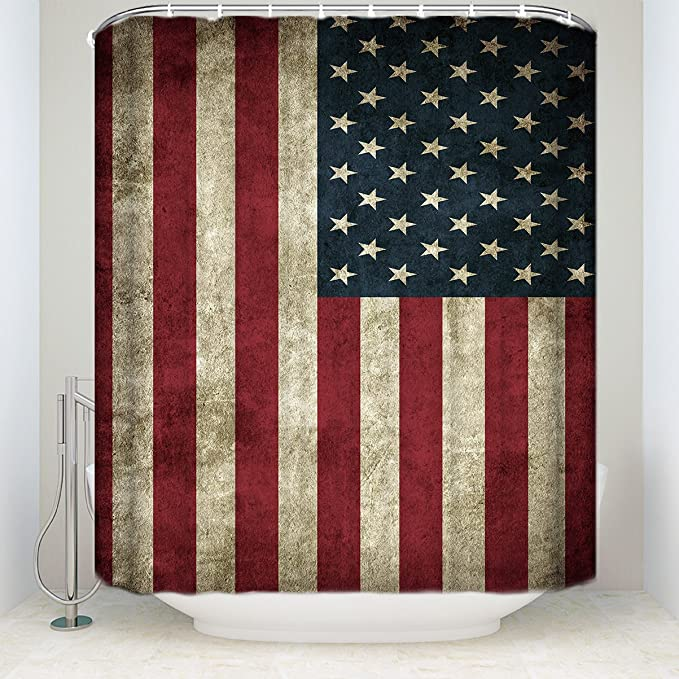 USA Flag Old Cabin Door Bathroom Shower Curtain Hooks Polyester Waterpoof Fabric