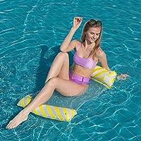 BUYFUN Cama flutuante inflável para piscina com água e rede flutuante de verão, cadeira reclinável, colchão de ar…
