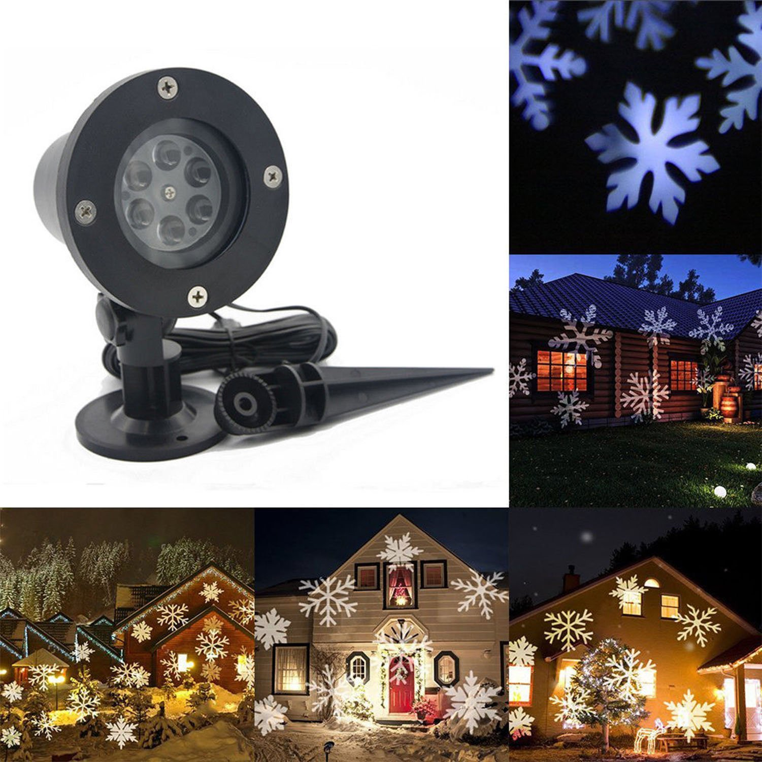 Christmas Projector Light Outdoor, LED Snowfall Rotating Snowflake Projector Lamp Waterproof for New Year Patio Garden