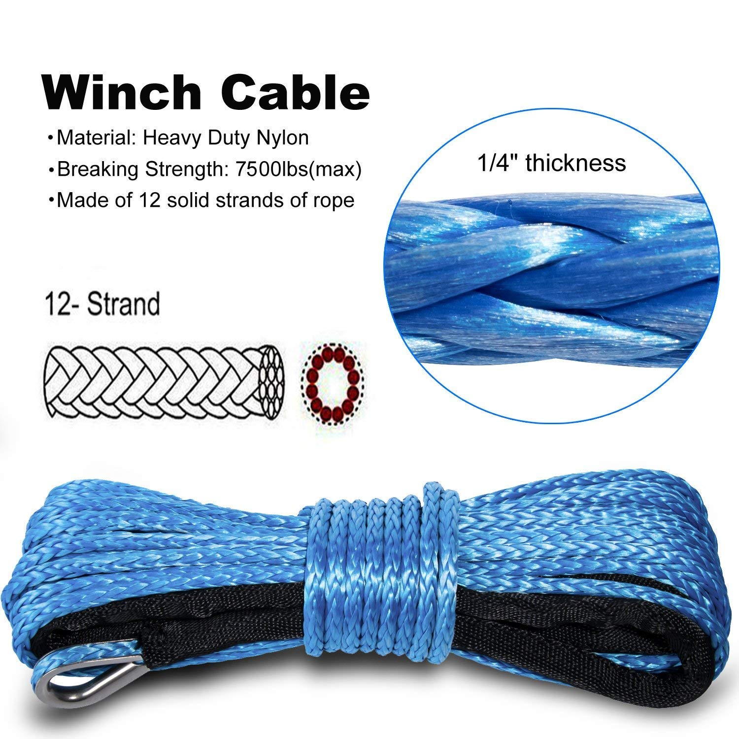 Yoursme Nylon Synthetic Winch Cable Rope with Sheath for SUV ATV UTV Winches Truck Boat Ramsey Car Blue (1/4' x 50'-7500LB+)