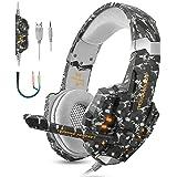 Casque de jeu stéréo pour PS4, PC, Xbox One, écouteurs professionnels d'isolation du bruit 3,5mm qui couvrent les oreilles avec micro, lumière LED, basse surround(Camouflage)