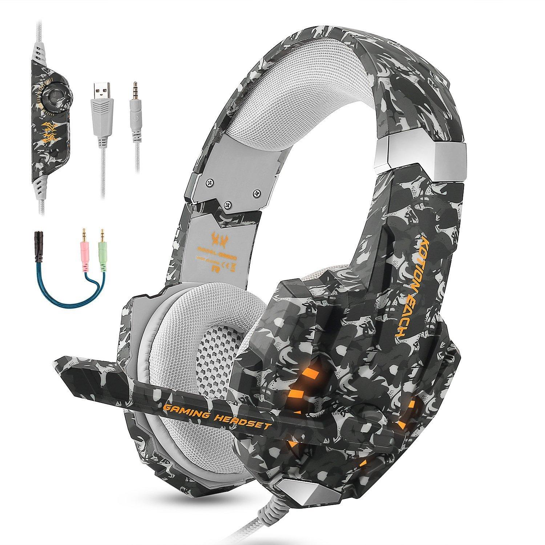 Casque de jeu sté ré o pour PS4, PC, Xbox One, é couteurs professionnels d' isolation du bruit 3,5mm qui couvrent les oreilles avec micro, lumiè re LED, basse surround(Camouflage) lumière LED ECOOPRO