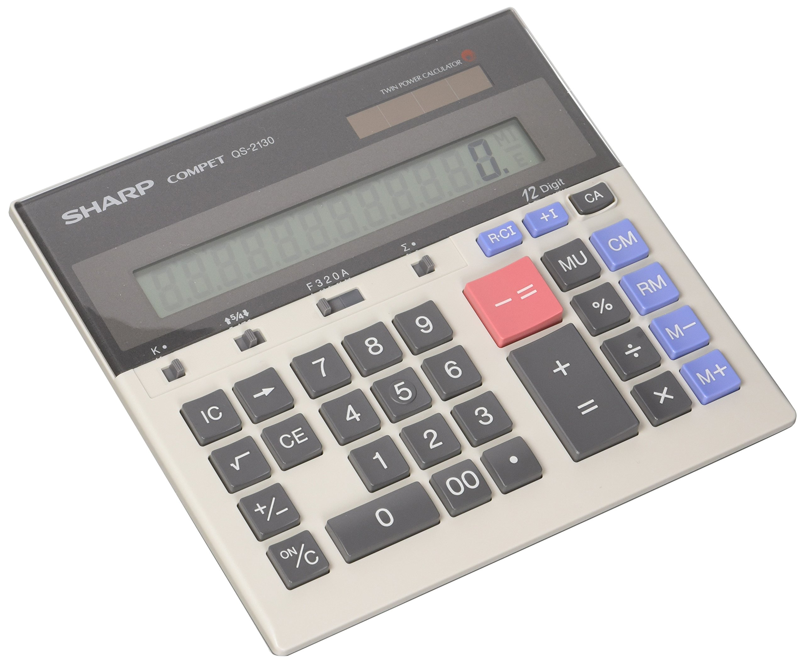 Sharp QS-2130 12 Digit Commercial Desktop Calculator with Kickstand, Arithmetic logic by Sharp